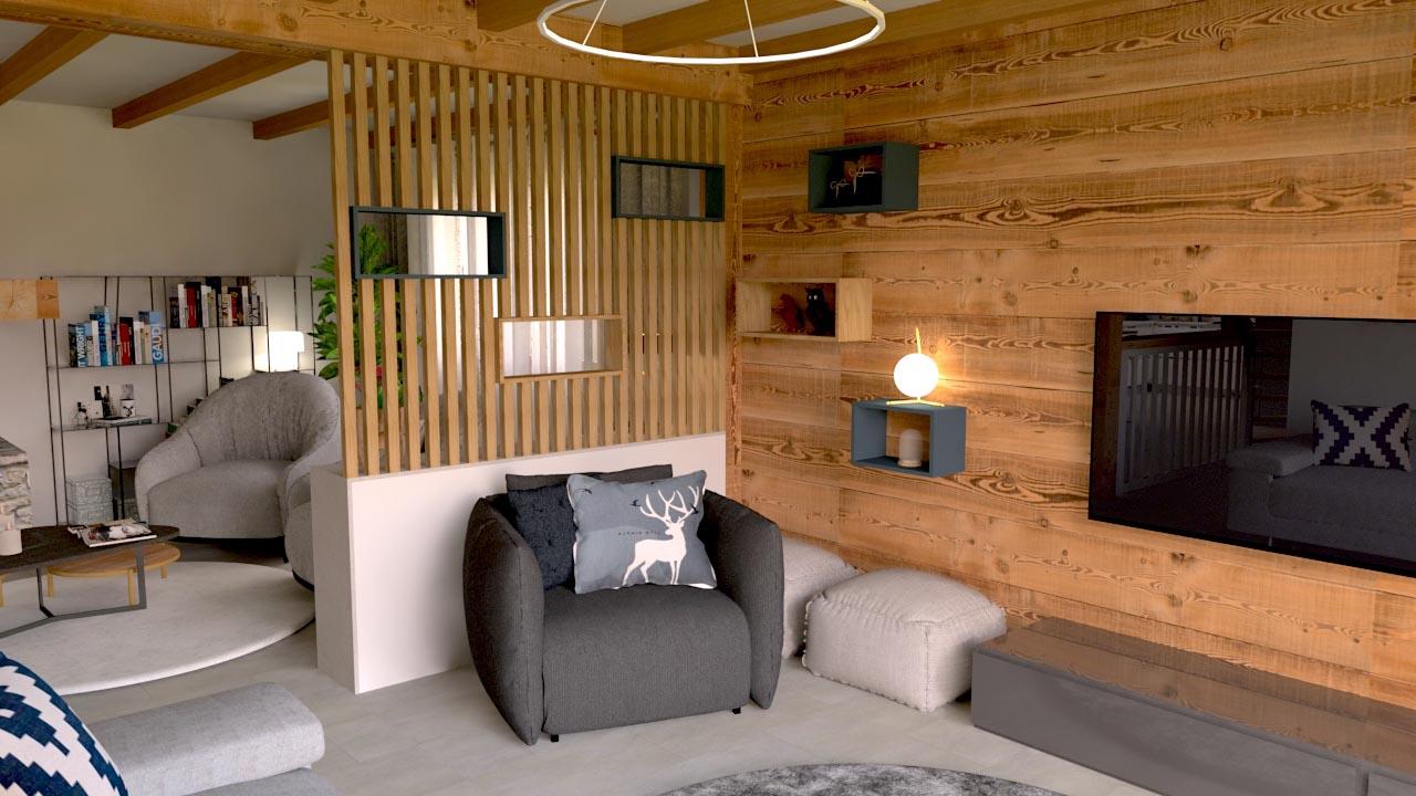 Image Chalet en hauteur espace salon